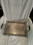 LARGE WOOD HANDLE REED AND BARTON STERLING SILVER TRAY