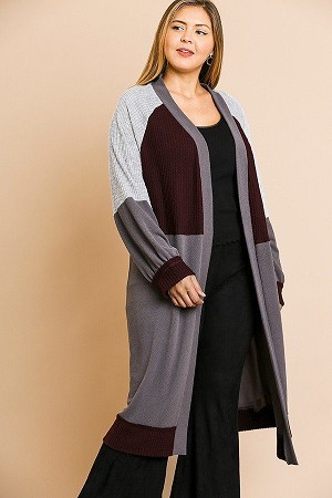 Colorblocked Long Puff Sleeve Ribbed Knit Long Open Front Sweater Cardigan XL
